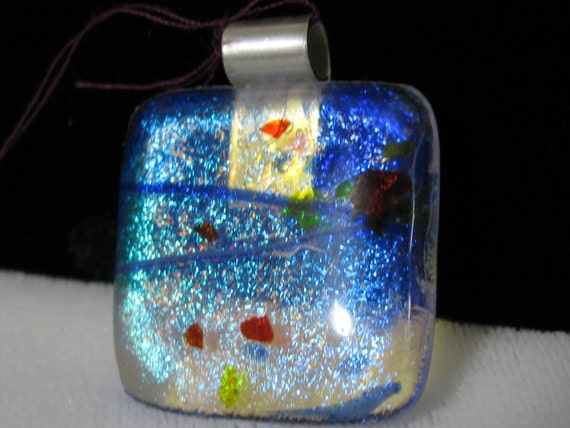 Dichroic Glass Pendant with Sterling Silver Bail, RKS247