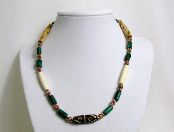 Malachite Bone and Copper Beaded Necklace RKMixables Copper Collection RKM326