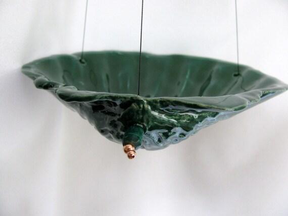 Deep Green Porcelain Shell Hanging Bird Feeder RKC055