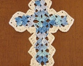 Cross Bookmark - Crocheted - Variegated Blue and Ivory