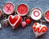 Hugs Kisses Hearts Charm Bracelet  X O Red Heart