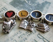 Heart Library Charm Bracelet Librarian Jewelry Book Lover Bibliophile