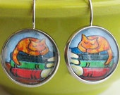 Napping Cat Books Earrings Bookish Literary Kitty