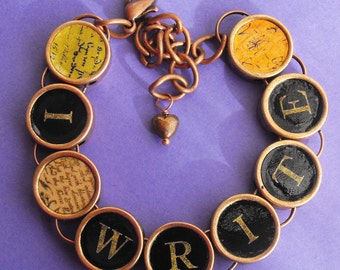 I Write Writers Bracelet Author Writing Literary Themed Copper Colored