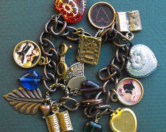 Hearts Books Bracelet Reading Charm Bookish Adjustable Size