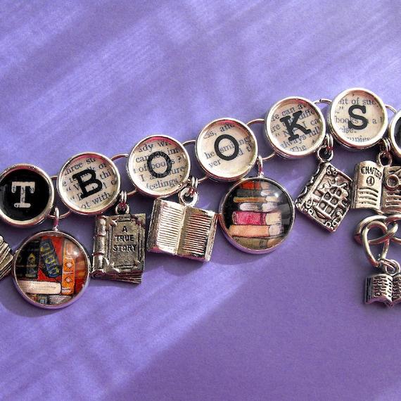 got books charm bracelet