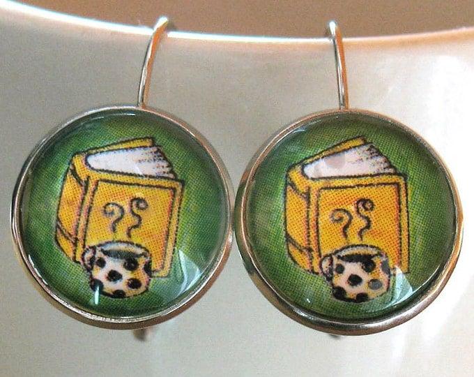 Book Earrings Coffee Tea Readers Literary Themed Jewelry
