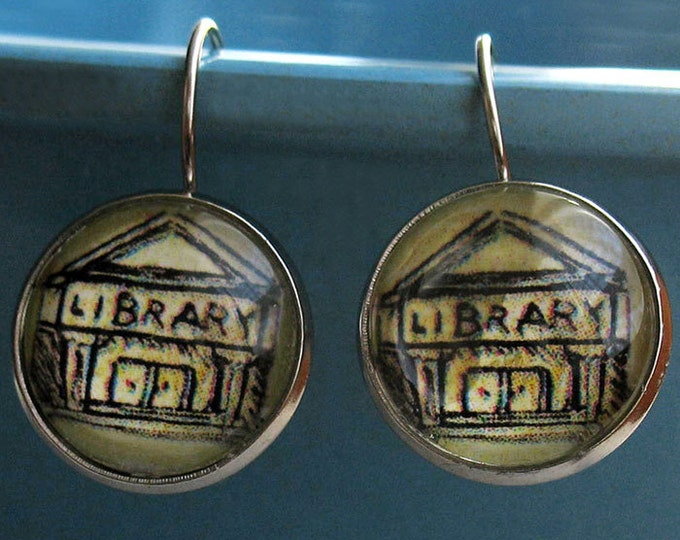Library Earrings Building Librarian Bookish Literary Theme