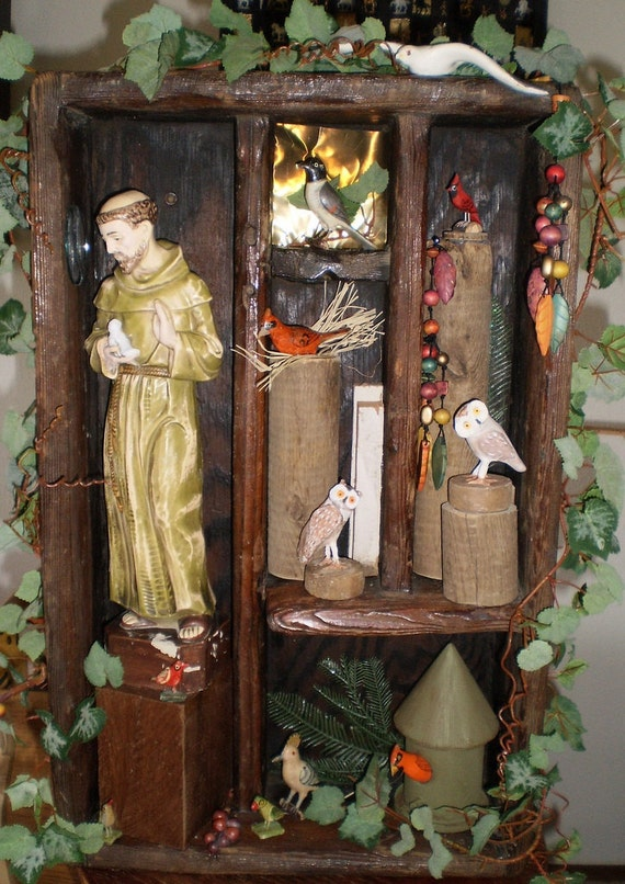 St. Francis with the Birds, Owls Reclaimed Wood