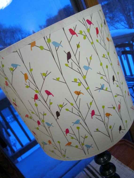 birds on branches paper lamp shade, drum shape