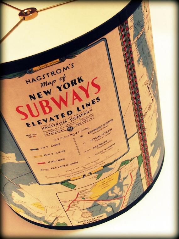 "New York subway map lamp shade, 13"" drum shade"