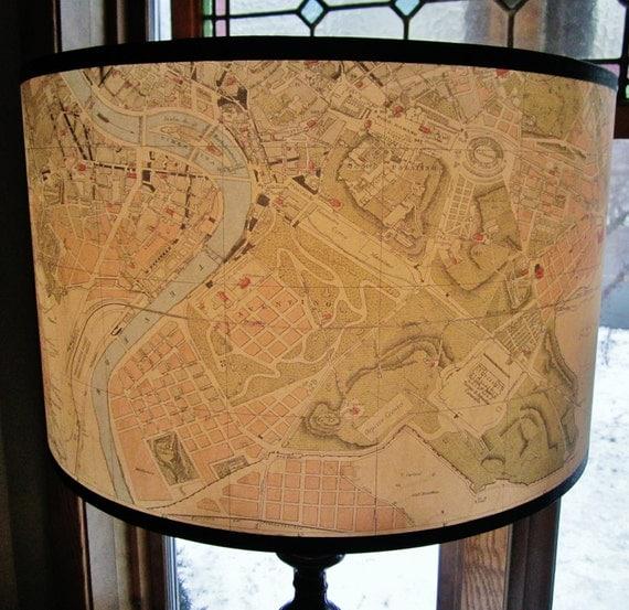 Rome Map Lamp Shade Cavallini Paper Drum Shade