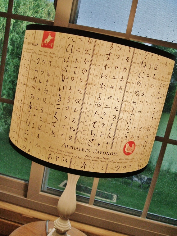 Typographic paper lamp shade, Alphabets Japanois