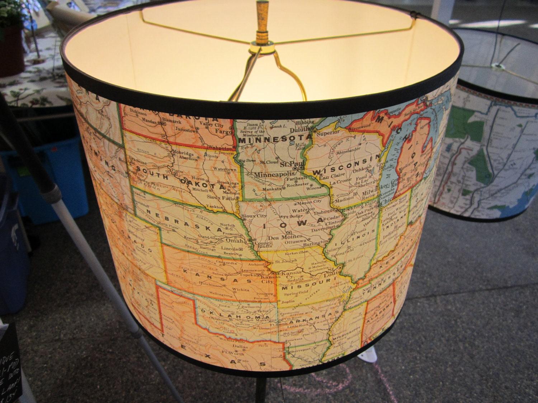Usa Map Lamp Shade Paper Drum Shade