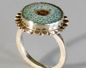Calico Button Ring