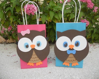 Owl Birthday Party Favor Bag
