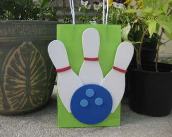 Bowling Pins and Ball Birthday Party Favor Bag