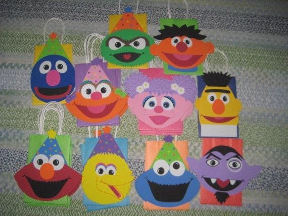 Sesame Street Inspired Party Bags - Cookie Monster, Elmo, Oscar, Big Bird, Bert, Ernie, Count, Zoe, Abby Cadabby and Grover - CUSTOM ORDER