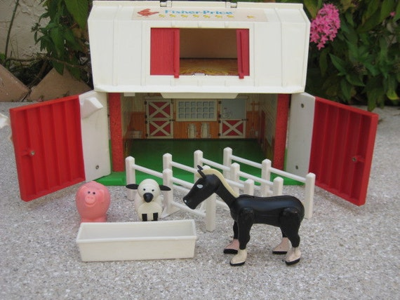 Vintage Fisher Price Barn and Animals