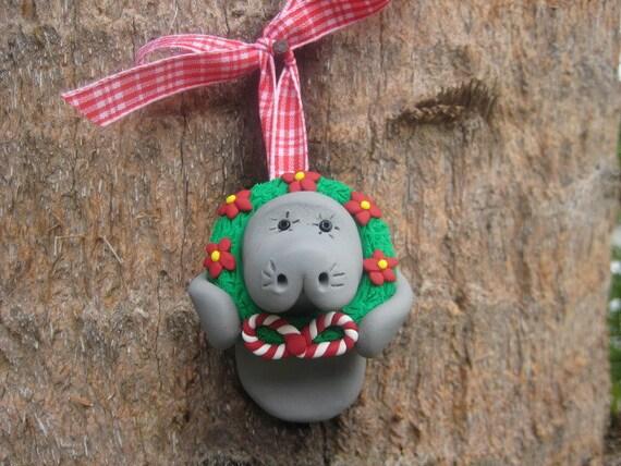Christmas Wreath Manatee Ornament - CUSTOM ORDER
