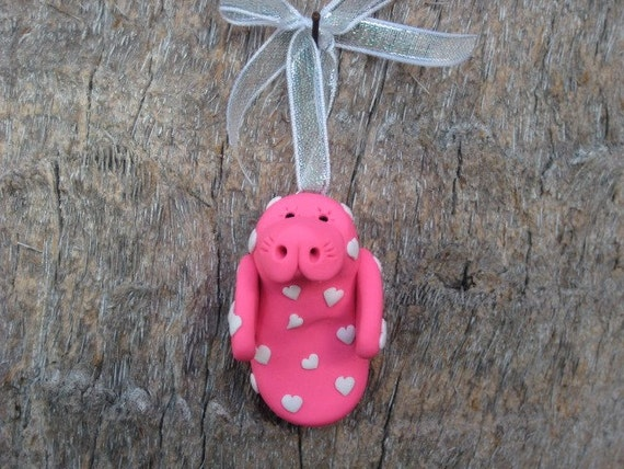 Pink Manatee with Hearts Valentine's Ornament