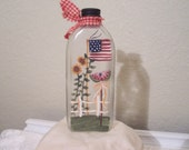 Handpainted Primitive Americana Vintage  Glass Bottle