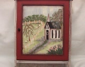 Primitive Cabinet, Handpainted, Willow, Sheep, Church, Spring