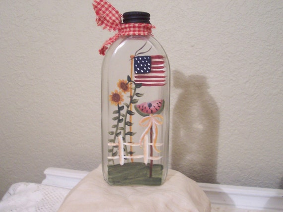 Handpainted Primitive Americana Vintage  Glass Bottle