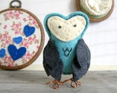 Felt Owl Figurine. Mister Stormy. Blue and Gray with Copper Feet. One of a Kind. by OrdinaryMommy