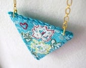 40% off Embroidered Lace Necklace Blue Raspberry Lace and Felt Tea Rose Series One of a Kind by OrdinaryMommy