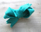Turquoise Felt Bow Hair Clip for Women by OrdinaryMommy on Etsy