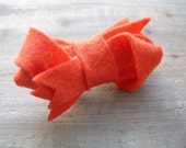 ON SALE Felt Bow Hair Clip Tangerine Orange Twisted Bow Boho Accessory for Women by OrdinaryMommy on Etsy