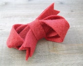 Bow Felt Hair Clip Rhubarb Red Boho Accessory by OrdinaryMommy on Etsy