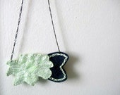 ON SALE Lace Rose Necklace Felt Pistachio Green by OrdinaryMommy on Etsy