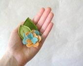 Womens Felt Flower Clip // Creamsicle and Aqua Barrette // Hair Accessory by OrdinaryMommy on Etsy