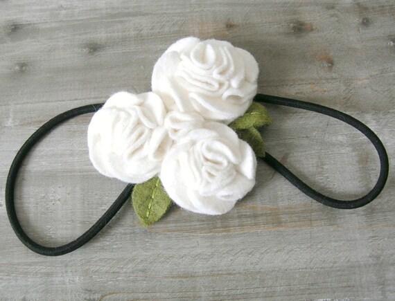 Felt Bouquet Headband White Woodland Bridal Headpiece by OrdinaryMommy on Etsy