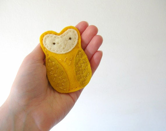 Yellow Embroidered Owl Barrette Clip Sweet Woodland Hair Accessory by OrdinaryMommy on Etsy