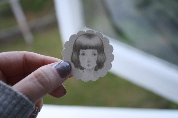 Grey face Stickers - set of 4