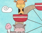 Giraffe and Hippo on Ferris Wheel Watercolor Painting