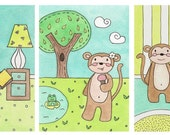 Set of 3 Monkey Watercolor Paintings