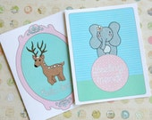 Deer and Elephant Note Cards