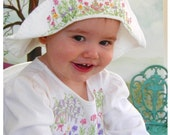 Baby, Toddler, Infant Girls Floppy Hats - Hand Painted Cotton - White - Whimsical Garden Painting
