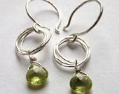 Sparkly Green Peridot Briolette Earrings with Layered Sterling Silver Circle Chain