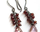 Garnet & Mystic Pink Quartz Earrings in Antiqued Sterling Silver