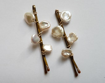 Ivory White Freshwater Keshi Pearl Hairpins Made to Order