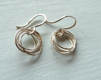 Eva Earrings Silver Hammered Circle Dangle Earrings Pure Sterling Silver
