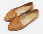Vintage Tan Woven Huaraches Sandals Flats Size 8.5