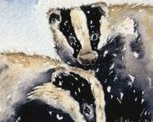 Original Watercolour ACEO - Scruffy Badgers