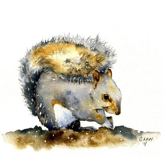 Original Watercolor sketch - Sitting Squirrel