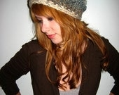 Speckled Oatmeal and Dusty Blue Variegated Bohemian Slouch Hat